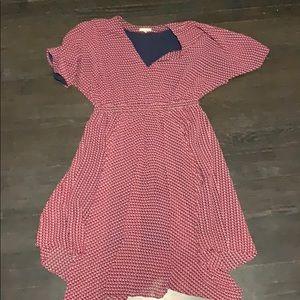 Kimono sleeve dress with asymmetrical hem